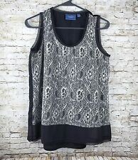 Simply Vera Wang Womens Size Small Top Gray Lace Tank Lined Casual Sleeveless