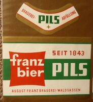 1950s GERMAN BEER LABEL, BRAUEREI FRANZ WALDSASSEN GERMANY, PILS 1
