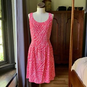LILLY PULITZER Pink Palm SILK Flirty Dress SIZE 10
