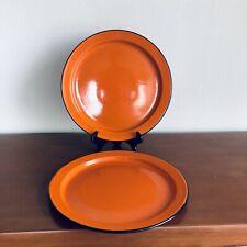 Oto Japan Black And Orange Enamel Dinner Plates