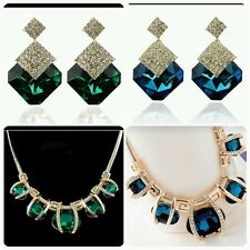Green Statement  Bib Necklace  Chain with Faux Crystals