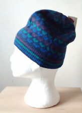 DENTS HEART PATTERN BLUE PURPLE TEAL ANGORA LAMBSWOOL KNITTED BEANIE HAT BNWT