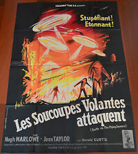 1956 Earth vs. The Flying Saucers ORIGINAL VTG FRENCH MOVIE POSTER Cult Sci-fi