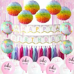 Unicorn Party Supply Banner Balloons Tassels Multi color Poms Streamer Curtain
