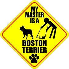 "MY MASTER IS A BOSTON TERRIER 4"" DOG POOP STICKER"