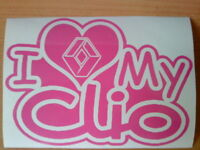 renault i love my clio heart girls girly vinyl car sticker fun graphics hot pink