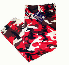 MENS RED ARMY CARGO CAMO COMBAT WORK TROUSERS 30 - 44 BNWT strong tough new