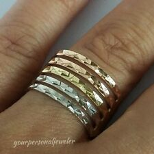 Solid real 14k Yellow white rose Gold 5 bands semanario wide ring S 8.5