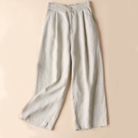 Wide Leg Pants Womens Office Loose Streetwear Solid Linen Pure Color Trousers SK