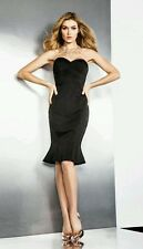 💓 GUESS BY MARCIANO LUZ BODICE CORSET BLACK SATEEN FLUTED MIDI DRESS 💕