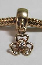 Genuine Pandora 14ct Gold & Diamond Posy Dangle Charm 750415D