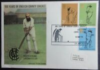 GB 1973 100 Years of County Cricket First Day Cover.Lords Postmark.