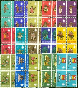 Gilbert & Ellice Is 1965 set of 15 SG89-103 in Used MNH Blocks of 4