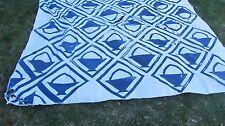 """LARGE Blue Antique 1890 New England """"BASKET IN A FRAME"""" Patchwork Quilt, Crafts"""