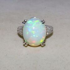 14K White Gold and 8.0+ Carat 15.5mm OPAL Ring with 60 Diamonds  (7g, size 7)