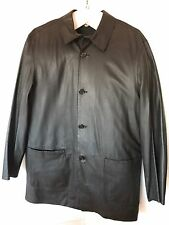 Barneys NY Buttery Soft Long Black Leather Button Down Jacket Made In Italy 52
