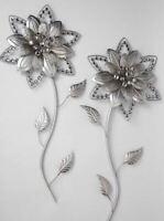 673749 Wanddeko Blume Silber-Gold 70cm handwerkliche Metallkunst mit Acryl Stück