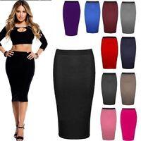 New Womens Plus Size Plain Bodycon Pencil Ladies Stretchy Office Midi Skirt 6-26