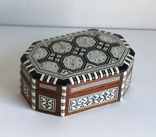 Egyptian Hand Made Mosaic Mother-of-Pearl inlaid Wood Jewelry Trinket Box