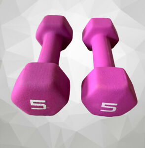 Set Of 2 5 Lb Pound Pink Dumbbell Set of 2 CAP Hex Neoprene Weights #A9