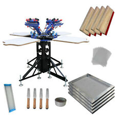 4 Color 4 Station Screen Printing Press Kit Tensioned Sceen Frame & Hand Tools