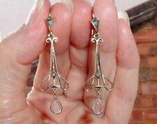 Fine 9ct Gold Moonstone Opal Drop Earrings