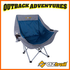 OZTRAIL SINGLE MOON CHAIR with arms -  BLUE COMFORT CAMP BEACH CHAIR - NEW MODEL