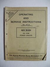 Austin Western 99M Power Grader Operating And Service Instructions 461-A Manual