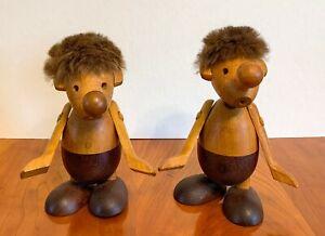 (2) Vntg Hans Bolling Articulated Danish Strit Wooden Toys Figures - Orskov & CO