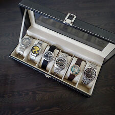 Orologio Pelle Scatola contiene 6 Orologi Vetro condita Cuscino Storage Bianco Stitch
