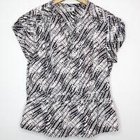 Worthington Women's Top Peplum Black and White Patterned Work Blouse Size Xl