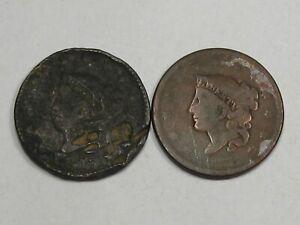2 Problem Large Cents: 1817 Damage & 1837 Weak.  #32