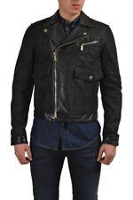 Dsquared2 Men's Dark Gray Leather Trimmed Denim Jacket US S IT 48