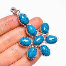 "Tibetan Turquoise Gemstone Ethnic Handmade 925 Sterling Silver Pendant 2.8"""
