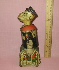 Vintage 1930's Louis Marx Popeye Walking Parrots In Cage Tin Litho Wind Up Toy