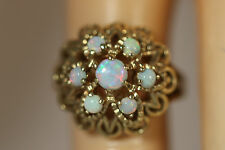 ANTIQUE HEAVY 14K SOLID GOLD 7 AUSTRALIAN BLACK OPAL FIRE OPAL RING 14KT 5 4.50G