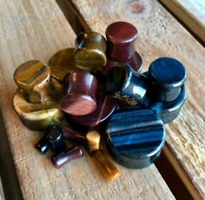 ALL 3 PAIR Stone Plugs Yellow, Blue & Red Tiger Eye Organic Double Flare Gauges