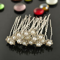 20pcs Bridal Wedding Flower Crystal Diamante Rhinestones Pearls Hair U Clip Pins