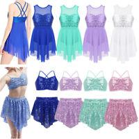 Girls Lyrical Ballet Dance Dress Shiny Sequins Leotard Irregular Hem Dancewear