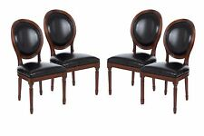 Set of 4 Vintage French Round Upholstered Side Dining Chairs Black