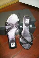 Calvin Klein-silver leather Nicky sandals.EU37M(fit38)New in box.
