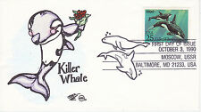 Steve Wilson Hand Painted First Day Cover Fdc 1990 Killer Whale Sea Mammal Aquat