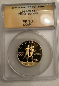 1984-W Olympic US $10 Gold Coin ANACS Graded PF70DCAM PR-70DCAM Proof