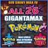 Pokemon Sword and Shield 6IV SHINY ALL 26 BATTLE READY GIGANTAMAX Bundle 🛡️