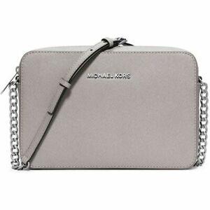 B5 NEW MICHAEL KORS Gray Jet Set Saffiano Leather Chain Strap Crossbody Bag $168