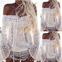 New Fashion Women Summer Loose Lace Tops Long Sleeve Shirt Casual Blouse T Shirt