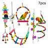 WR_ 7Pcs Pet Bird Parrot Rattan Ball Bell Beads Mirror Cage Hanging Swing Chew T