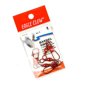 EAGLE CLAW Barrel Swivel with Interlock Snap Size 1 3ct - RED