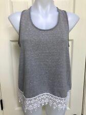 Jack Womens Western crop Boho Fringe Crochet Tank Top Gray M