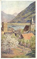Shwallenbacch Bavaria Chapel Painting Art Postcard Danube Steamship Advertising